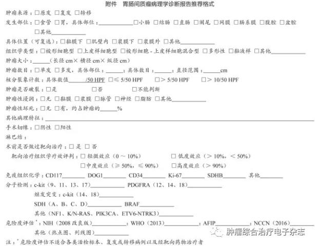 中国胃肠间质瘤诊断治疗共识(2017年版)
